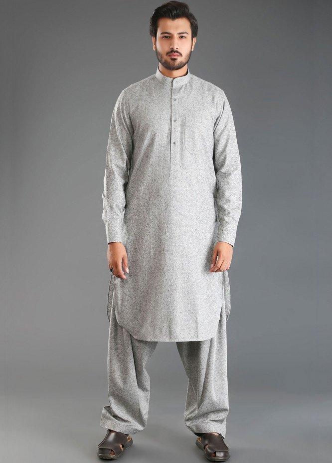 Sanaulla Exclusive Range Wash N Wear Woolen Men Kameez Shalwar - Grey SKS18W 10