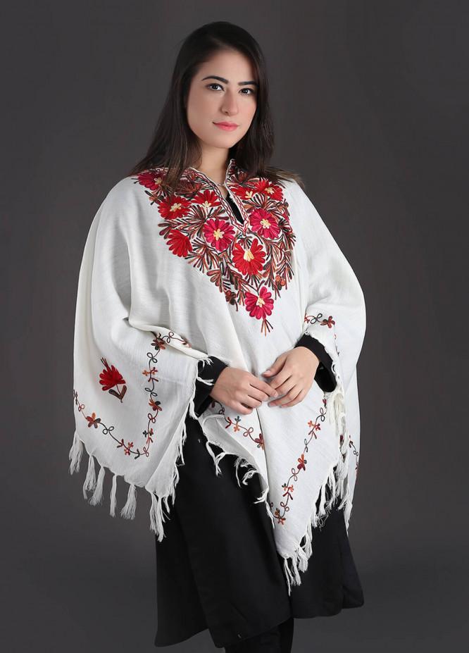 Sanaulla Exclusive Range Embroidered Pashmina Free Size Ponchos 02 - Winter Collection