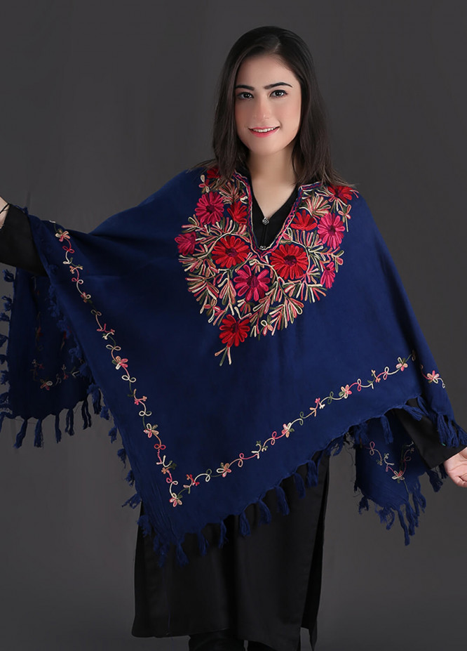 Sanaulla Exclusive Range Embroidered Pashmina Free Size Ponchos 06 - Winter Collection