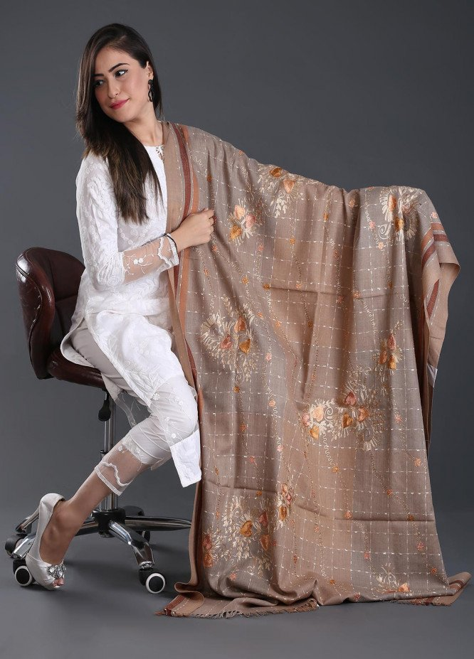 Sanaulla Exclusive Range Embroidered Pashmina  Shawl 122 - Kashmiri Shawls