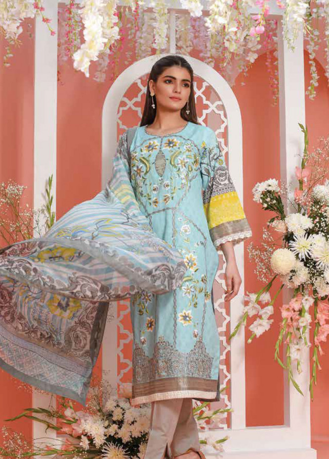 Lakhany Embroidered Lawn Unstitched 3 Piece Suit LSM19L LSJ0001 - Spring / Summer Collection