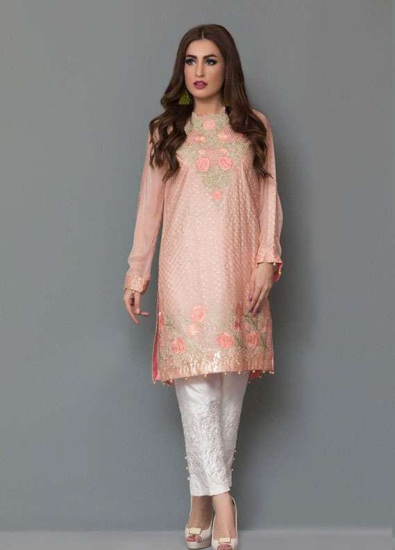 Panache Embroidered Charmeuse Unstitched Kurties PN18V 10 - Spring Collection