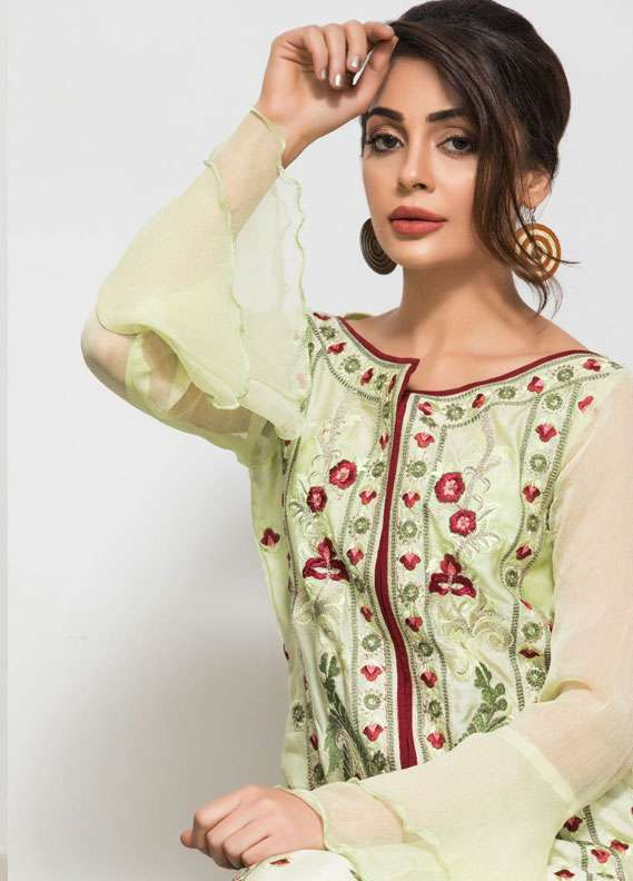 Panache Embroidered Charmeuse Unstitched Kurties PN18V 03 - Spring Collection
