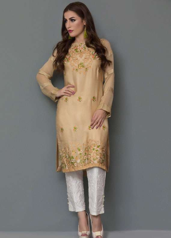 Panache Embroidered Charmeuse Unstitched Kurties PN18V 09 - Spring Collection