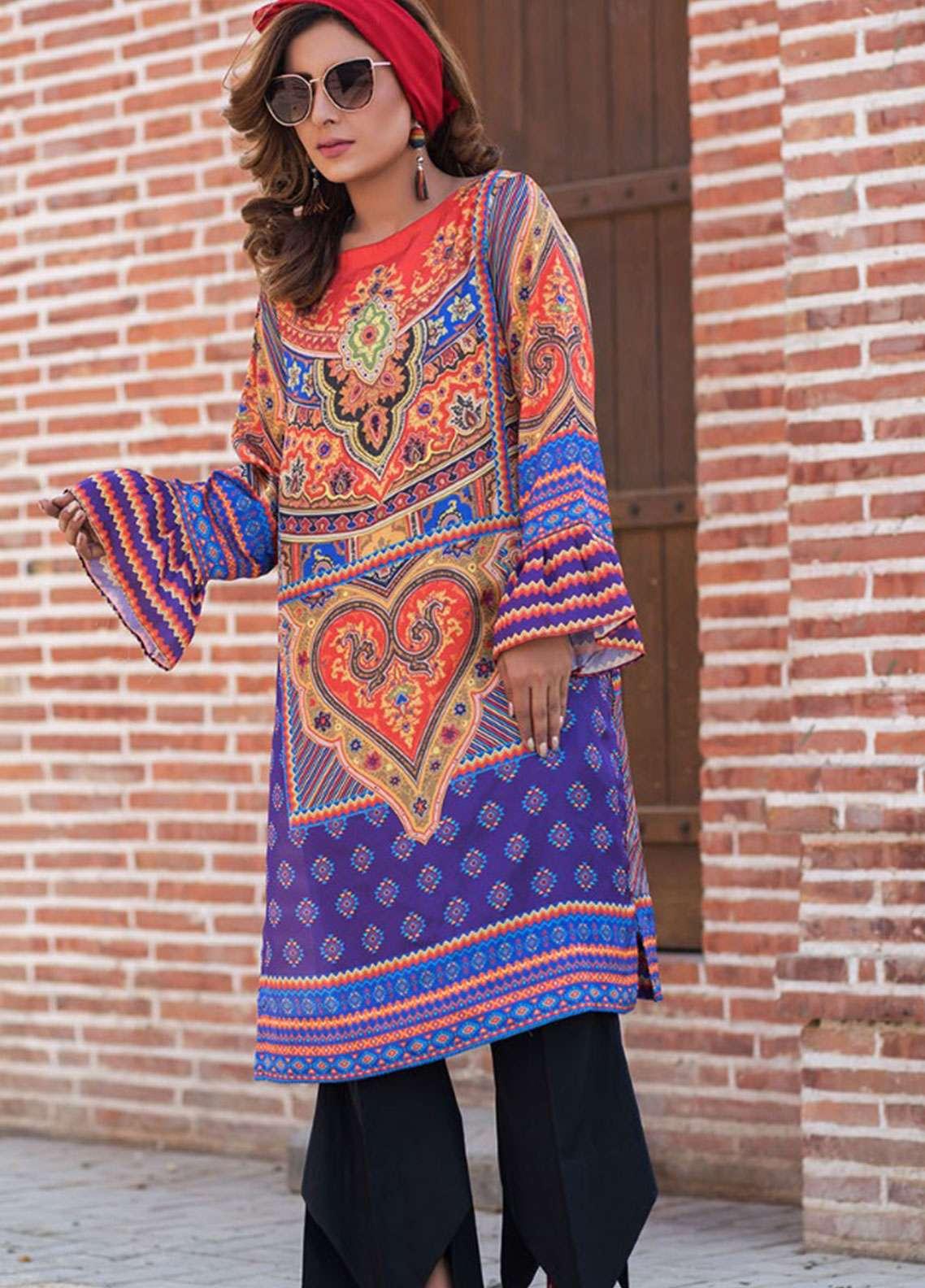 Fateh Printed Silk Unstitched Kurties Silk FS-01130 - Mid Summer Collection