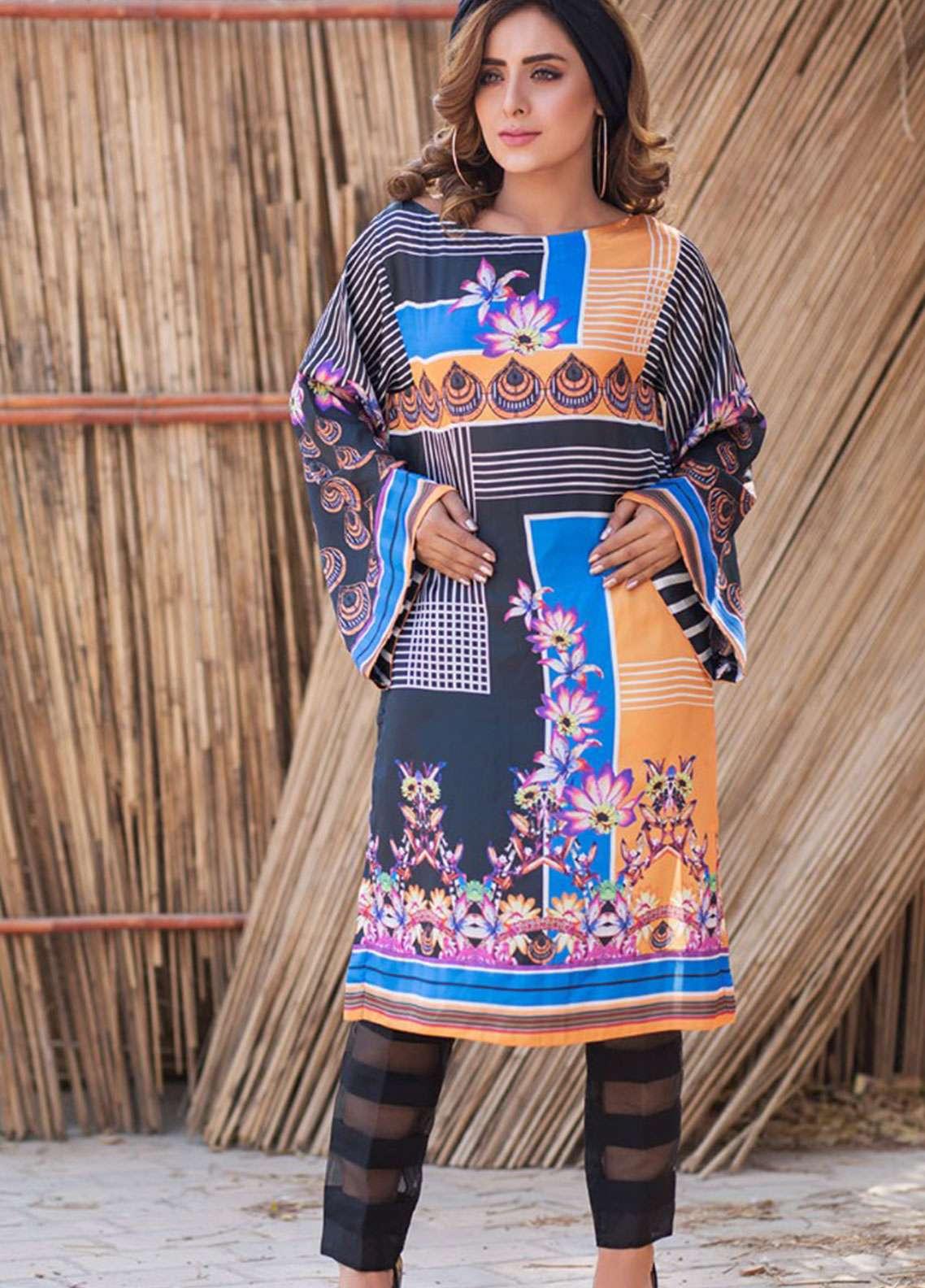 Fateh Printed Silk Unstitched Kurties Silk FS-01140 - Mid Summer Collection
