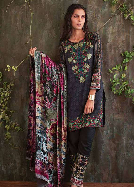 Deeba Embroidered Velvet Unstitched 3 Piece Suit DB17V 10A