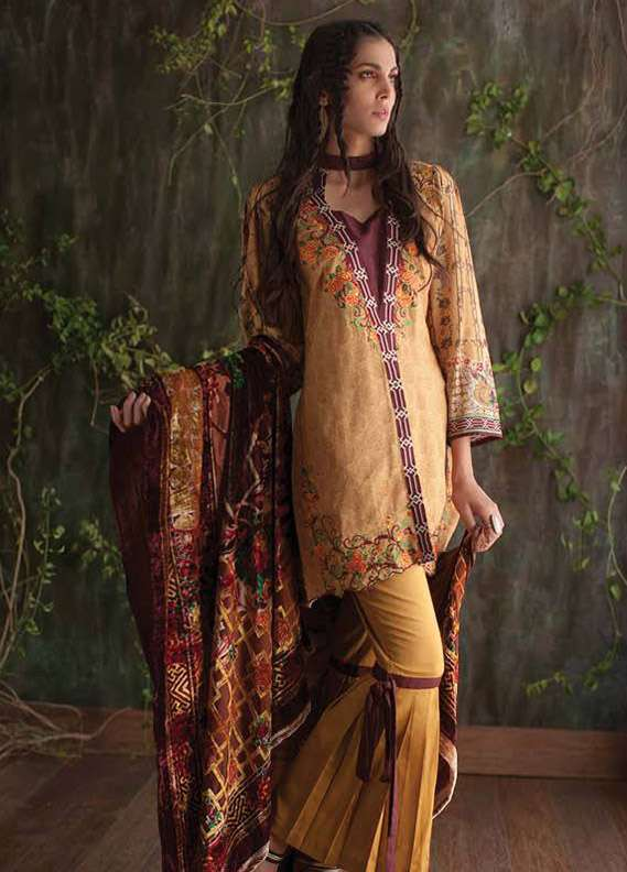 Deeba Embroidered Velvet Unstitched 3 Piece Suit DB17V 10B