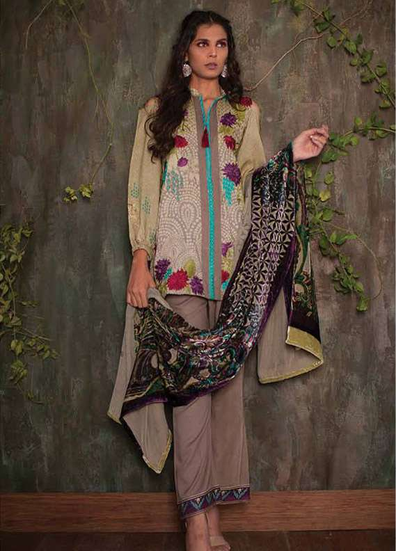 Deeba Embroidered Velvet Unstitched 3 Piece Suit DB17V 12A