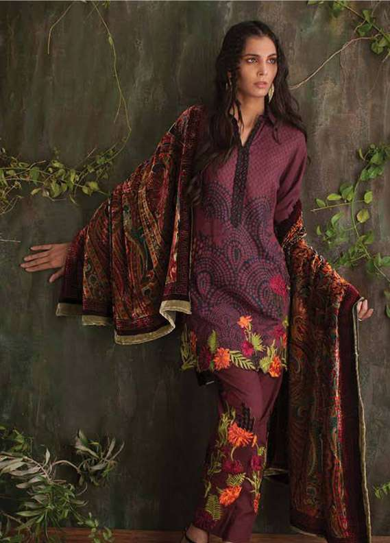 Deeba Embroidered Velvet Unstitched 3 Piece Suit DB17V 12B