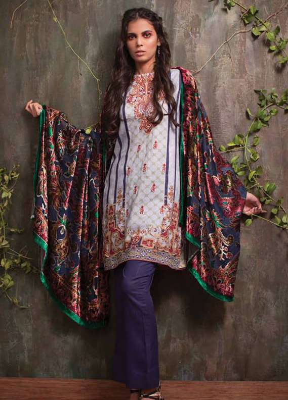 Deeba Embroidered Velvet Unstitched 3 Piece Suit DB17V 13A