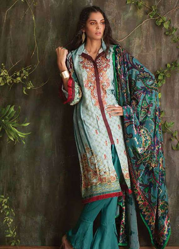 Deeba Embroidered Velvet Unstitched 3 Piece Suit DB17V 13B