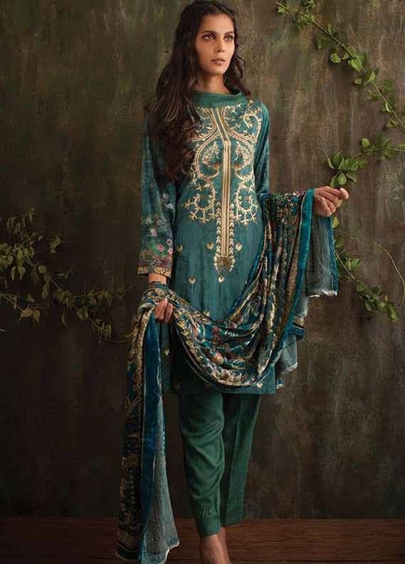 Deeba Embroidered Velvet Unstitched 3 Piece Suit DB17V 7A