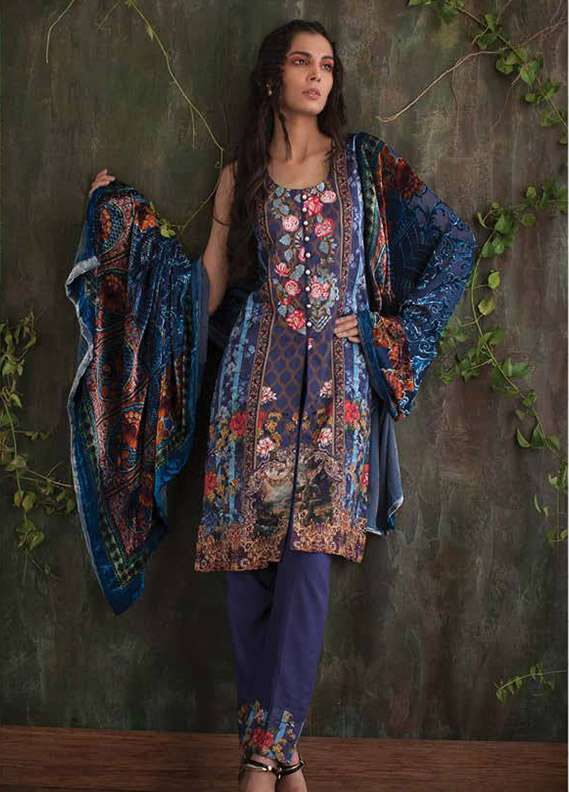 Deeba Embroidered Velvet Unstitched 3 Piece Suit DB17V 9B
