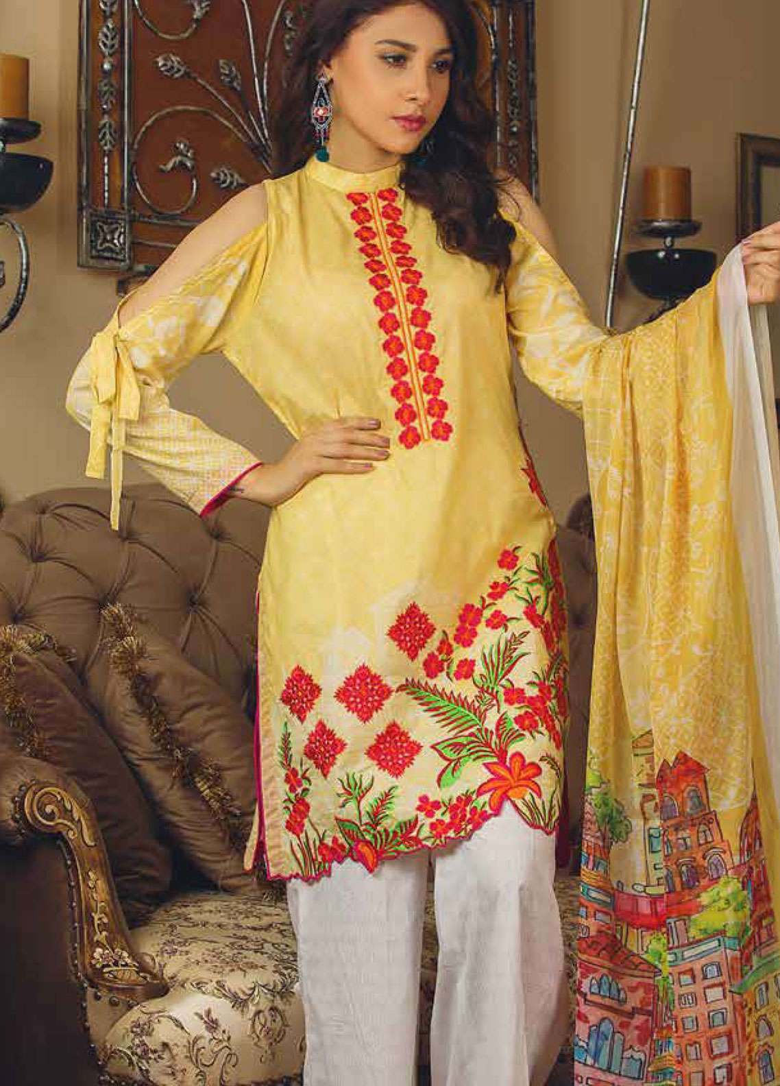 Deeba Embroidered Lawn Unstitched 3 Piece Suit DB19L 01A - Spring / Summer Collection