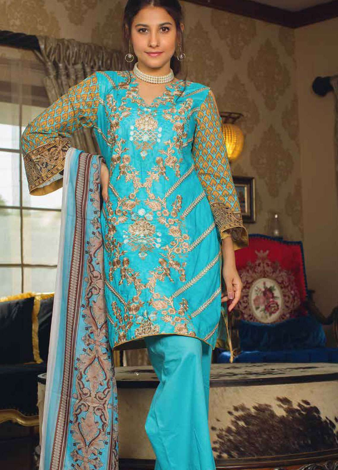 Deeba Embroidered Lawn Unstitched 3 Piece Suit DB19L 02A - Spring / Summer Collection