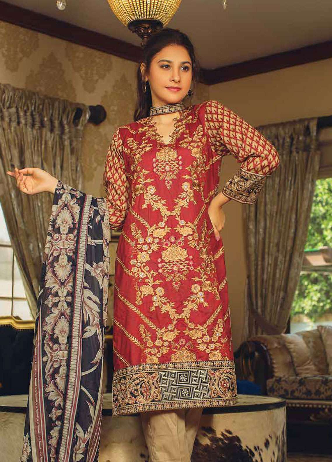 Deeba Embroidered Lawn Unstitched 3 Piece Suit DB19L 02B - Spring / Summer Collection