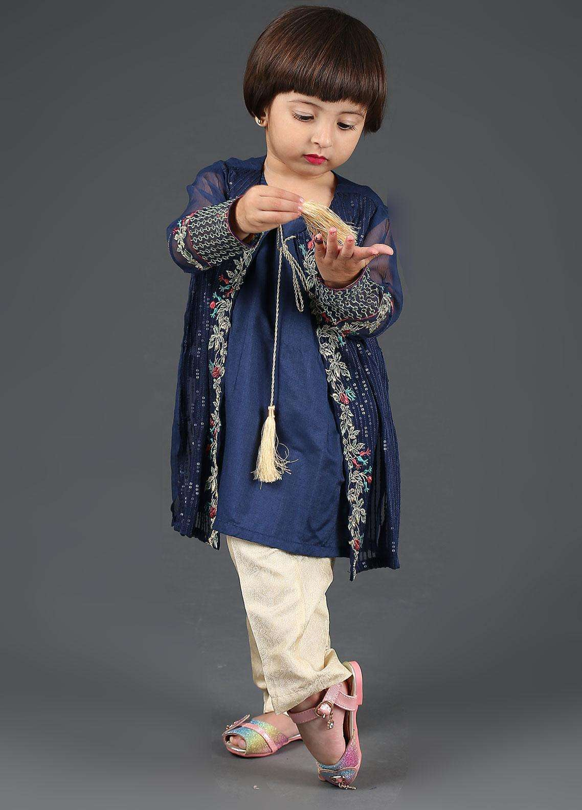 Dhanak Chiffon Embroidered 2 Piece Suits for Girls -  DK-0042 Blue