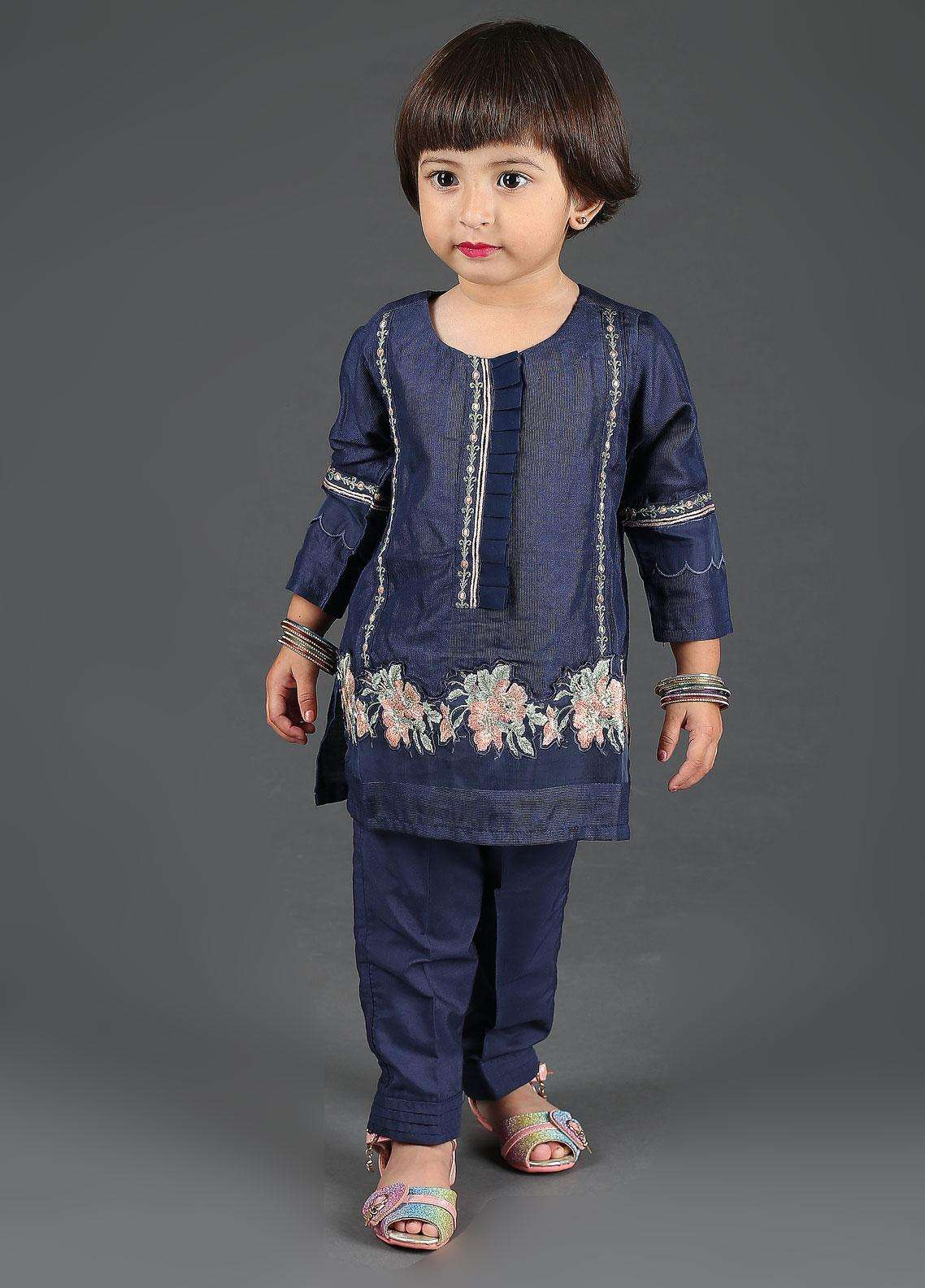 Dhanak Cotton Net Embroidered Girls 2 Piece Suits -  DK-0052 Navy Blue