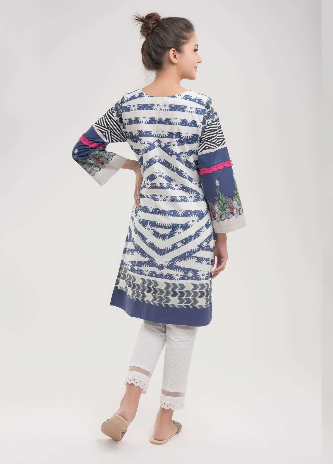 Dhanak Printed Lawn Stitched Kurtis Blue DC-0071