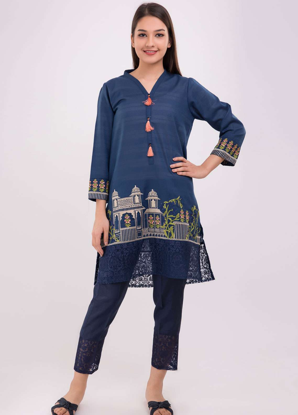 Dhanak Embroidered Jacquard Stitched Kurtis Blue DC-0107