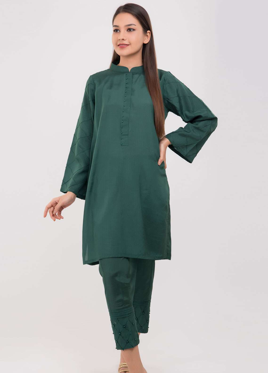 Dhanak Embroidered Raw Silk Stitched 2 Piece Suit Green DA-1035