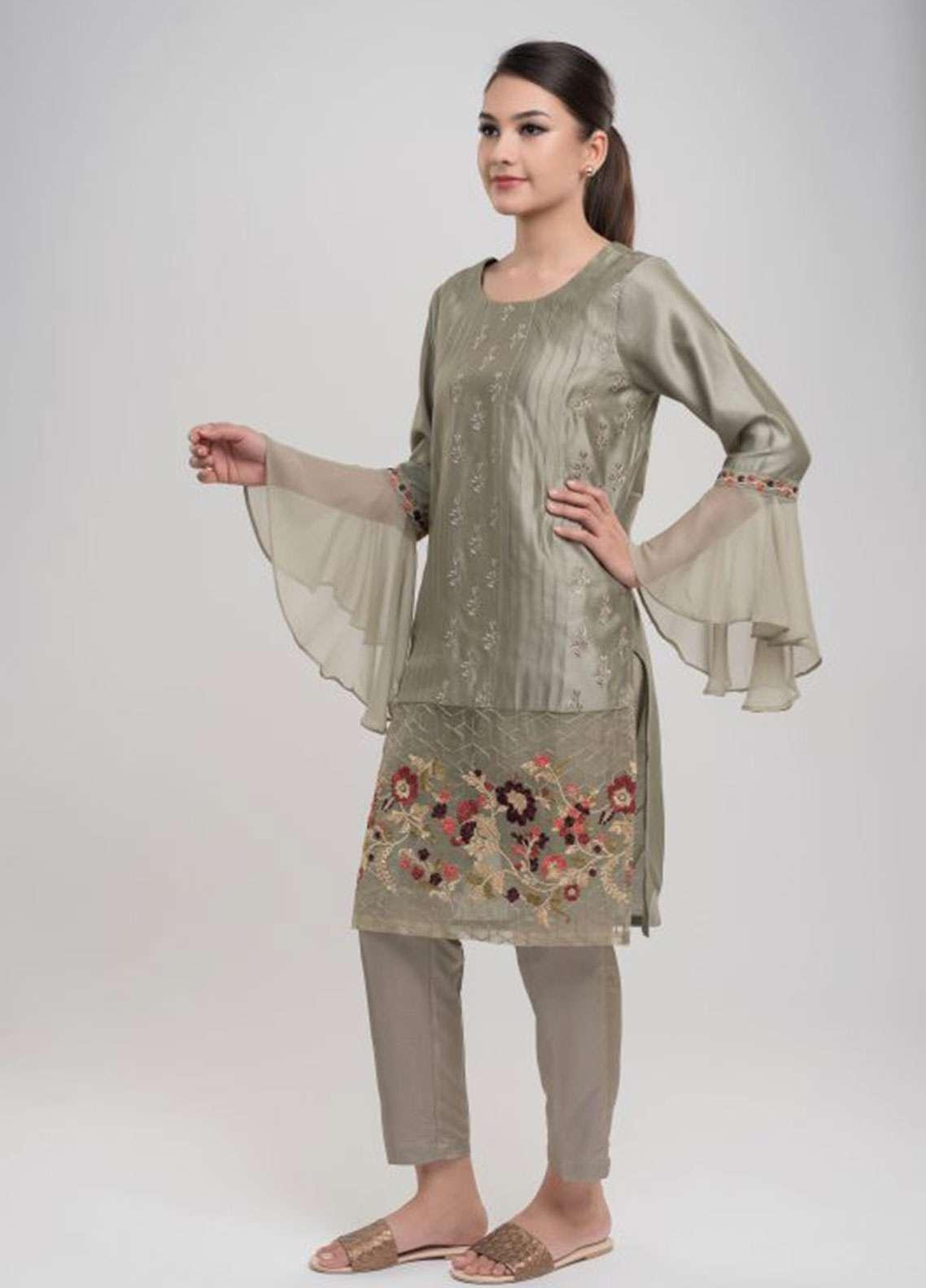 Dhanak Embroidered Cotton Net Stitched Kurtis GREY DA-0676