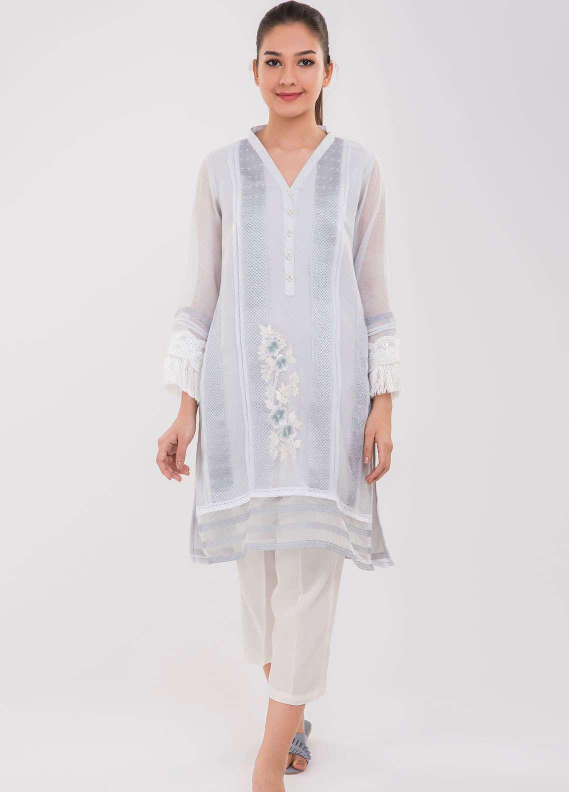 Dhanak Embroidered Khaadi Net Stitched Kurtis Grey DA-1013