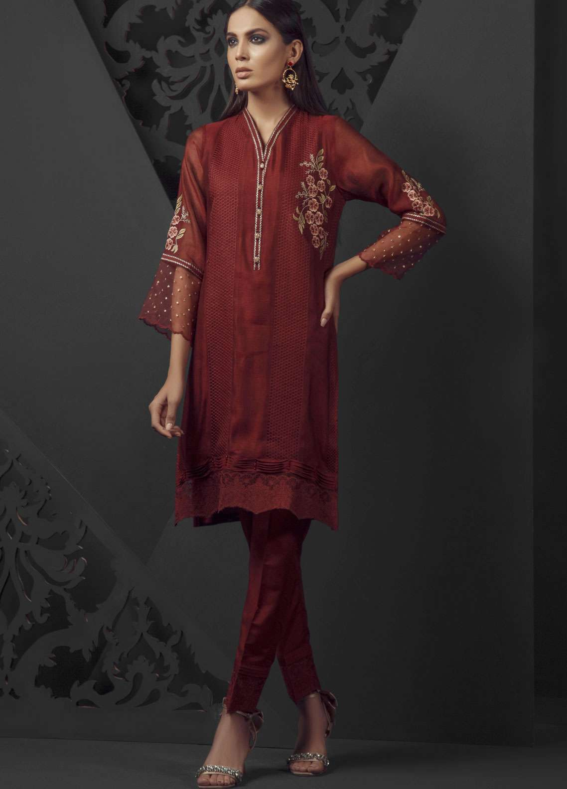 Dhanak Embroidered Cotton Net Stitched Kurtis Maroon DA-1020
