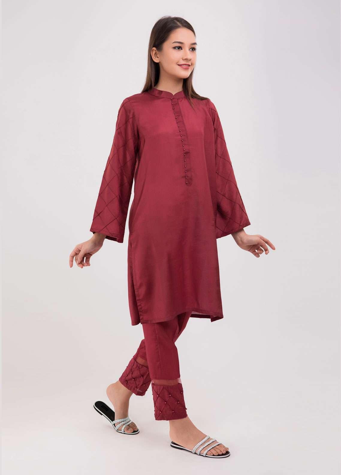 Dhanak Embroidered Raw Silk Stitched 2 Piece Suit Maroon DA-1035