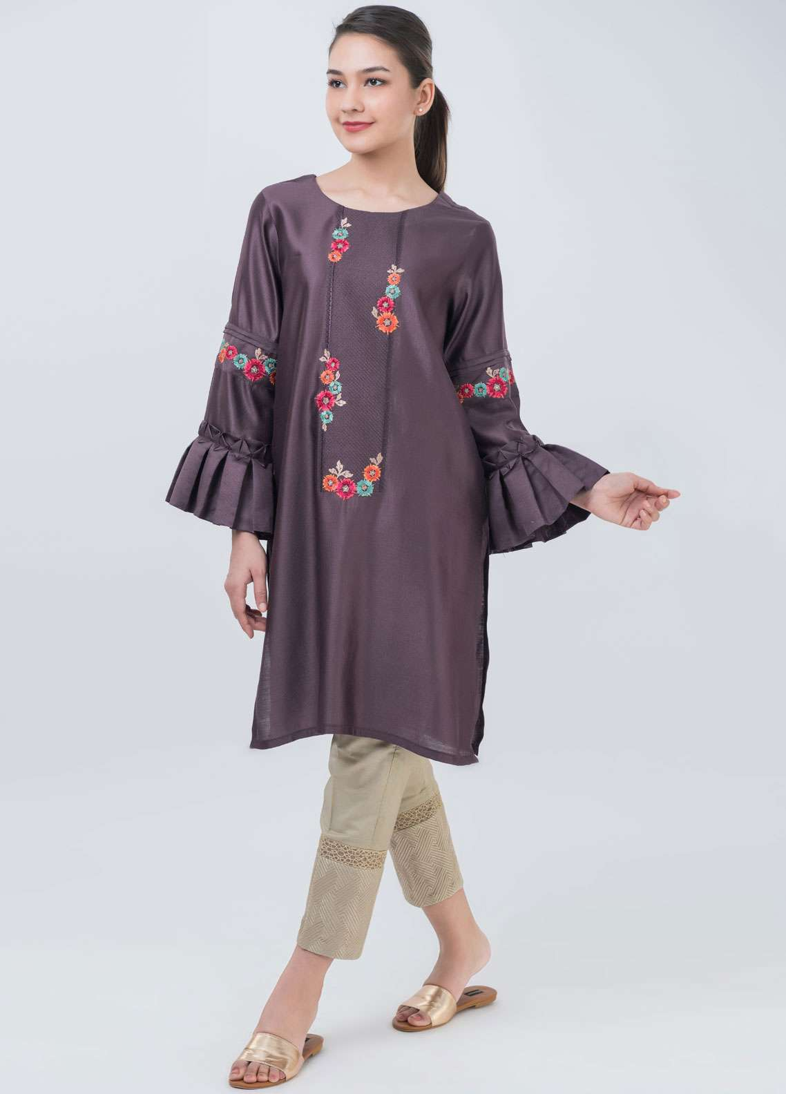 Dhanak Embroidered Khaadi Net Stitched Kurtis Purple DA-1046