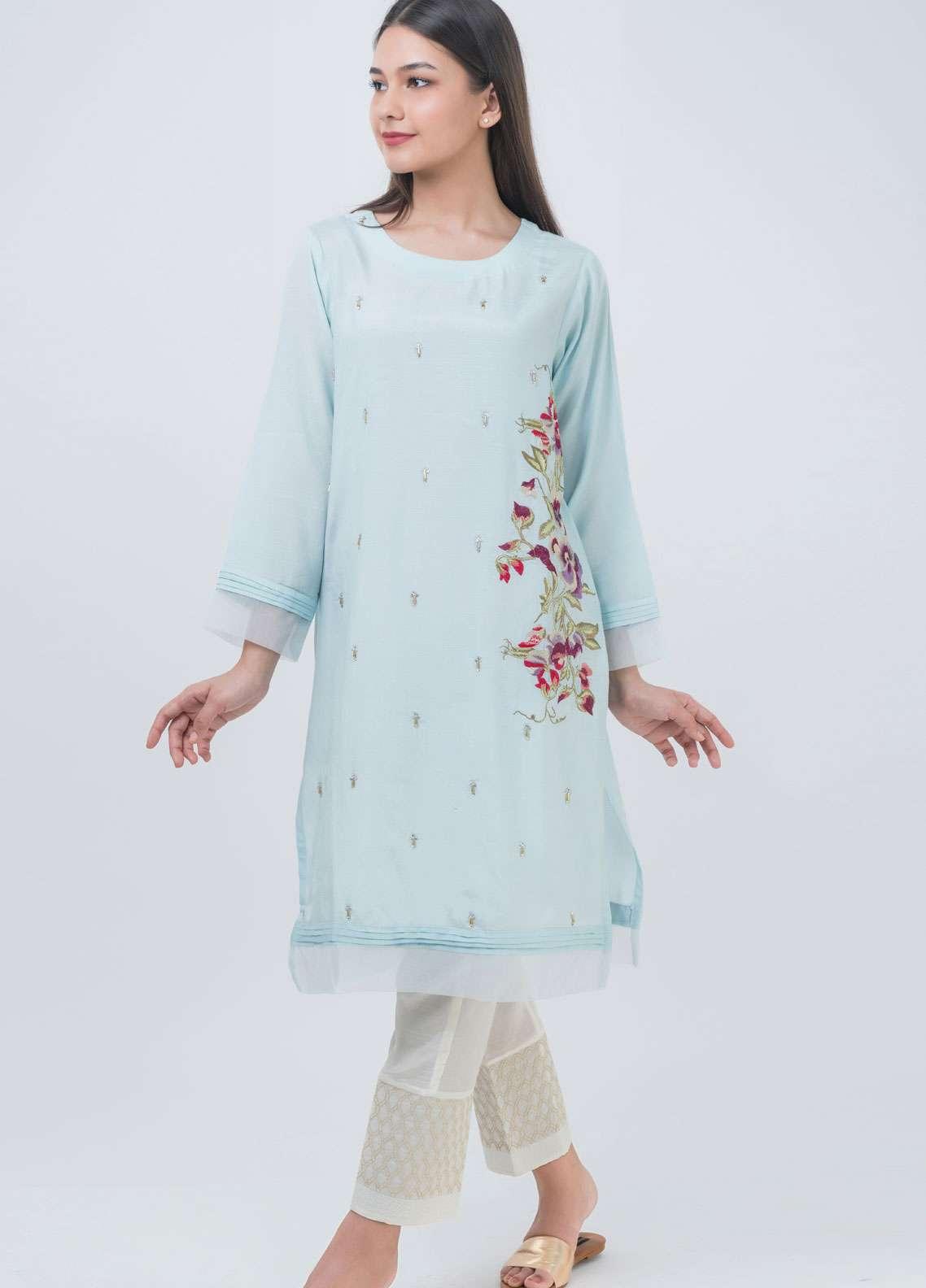 Dhanak Embroidered Khaadi Net Stitched Kurtis Sky Blue DA-1031