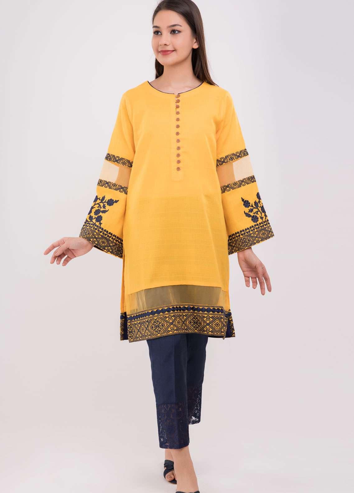 Dhanak Embroidered Jacquard Stitched Kurtis Yellow DC-0109