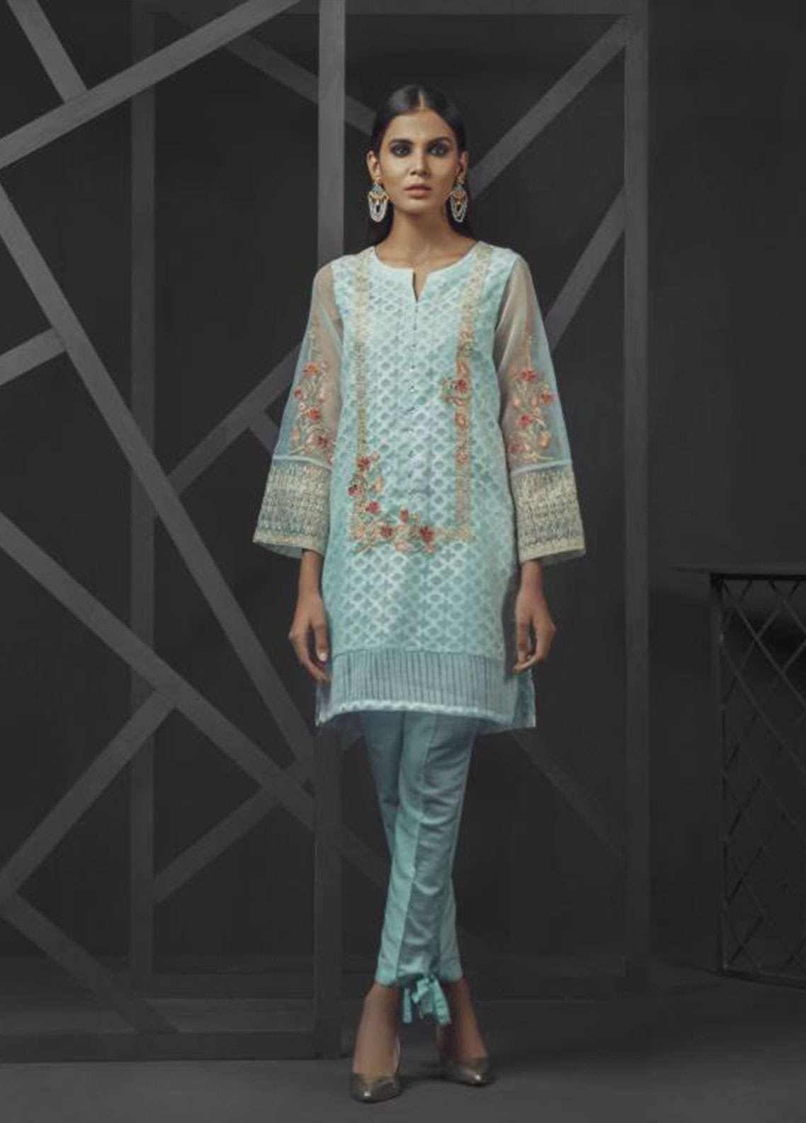 Dhanak Embroidered  Stitched Kurtis DA-0700 Sky Blue