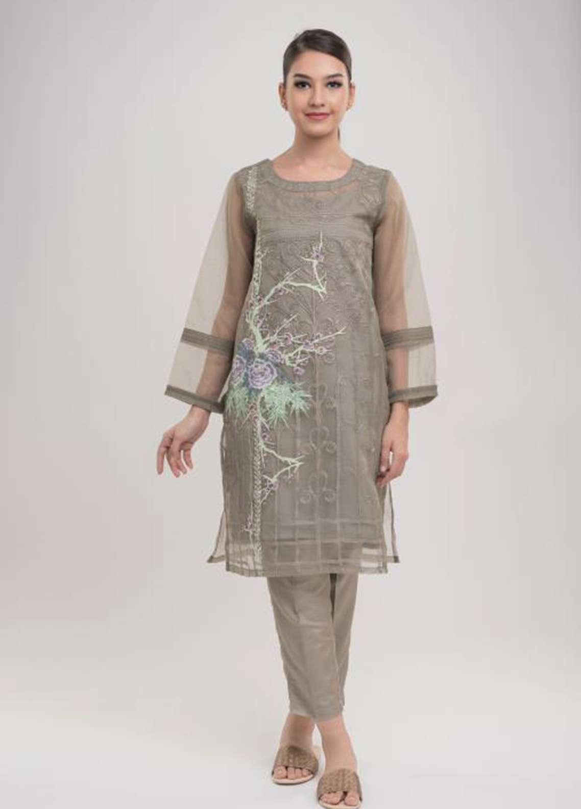 Dhanak Embroidered  Stitched Kurtis DA-1011 Grey