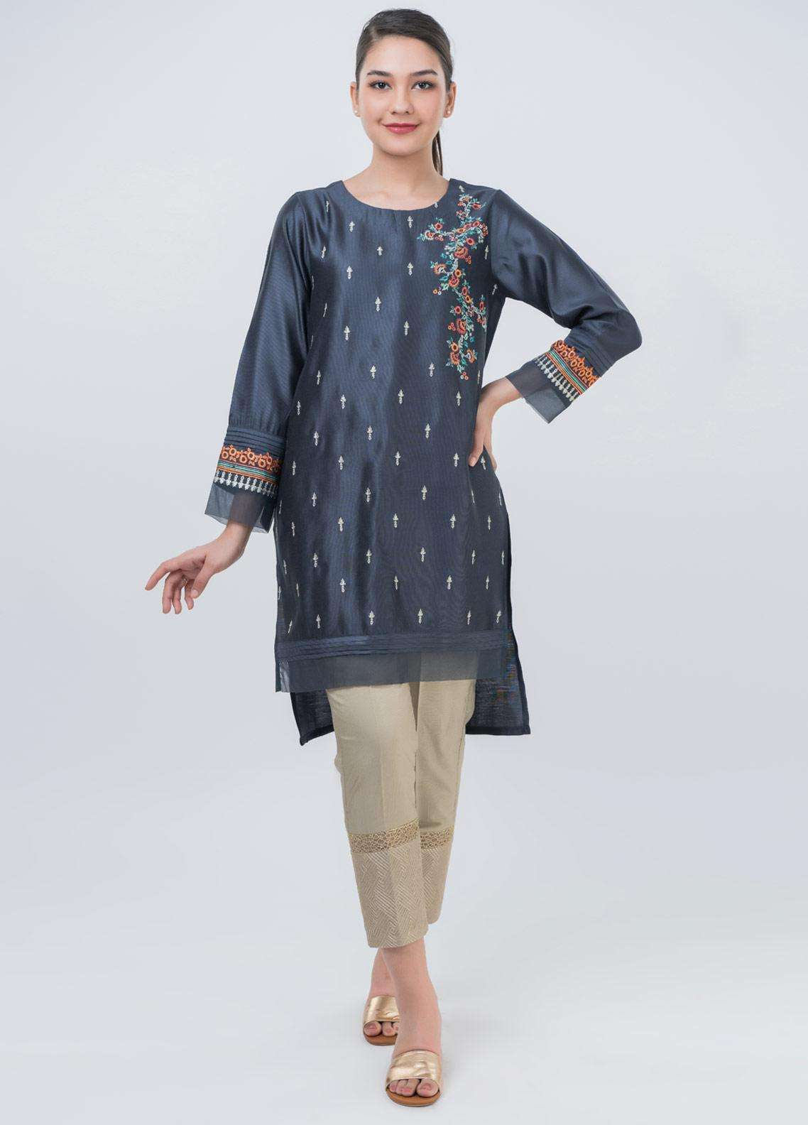 Dhanak Embroidered Cotton Net Stitched Kurtis DA-1045