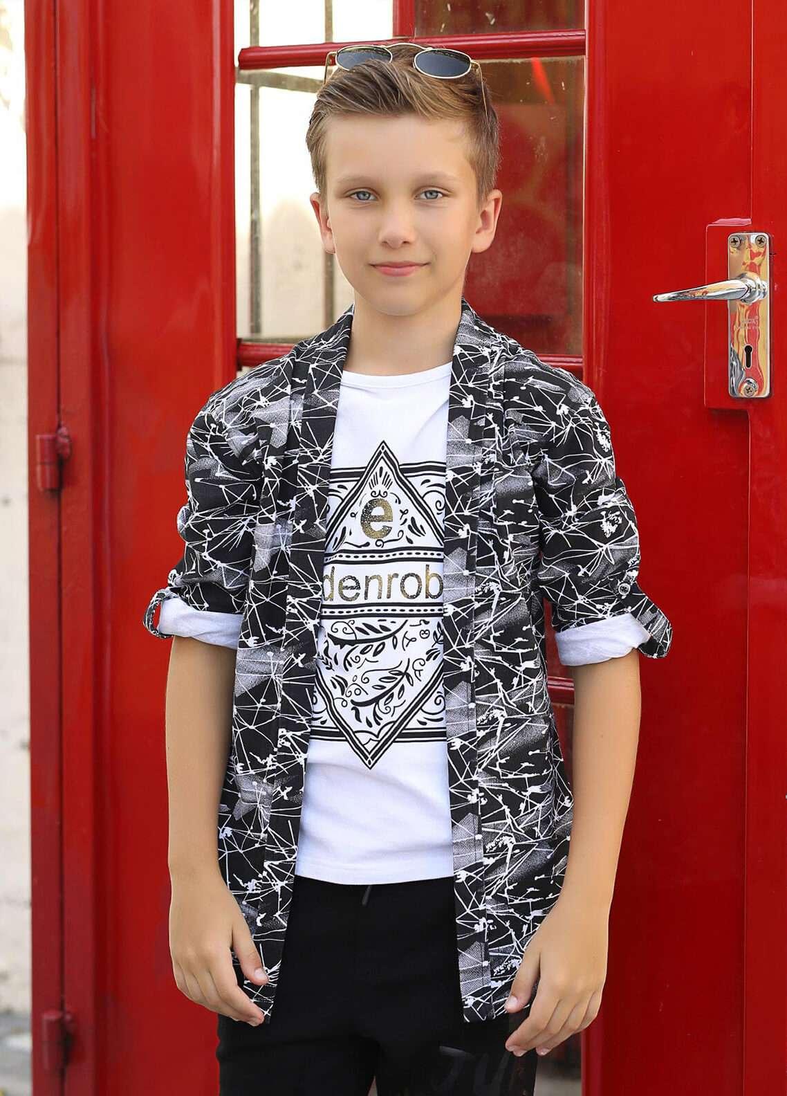 Edenrobe Cotton Casual Shirts for Boys - Black 014354