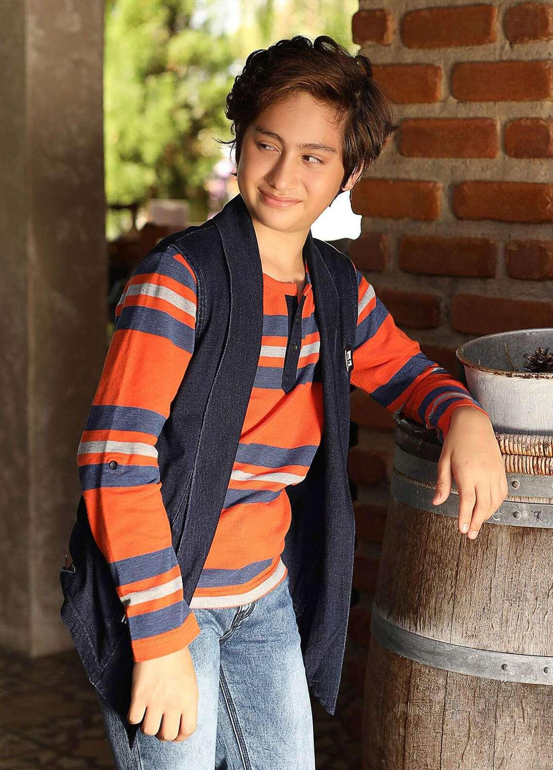 Edenrobe Cotton Casual Shirts for Boys - Navy Blue 014358