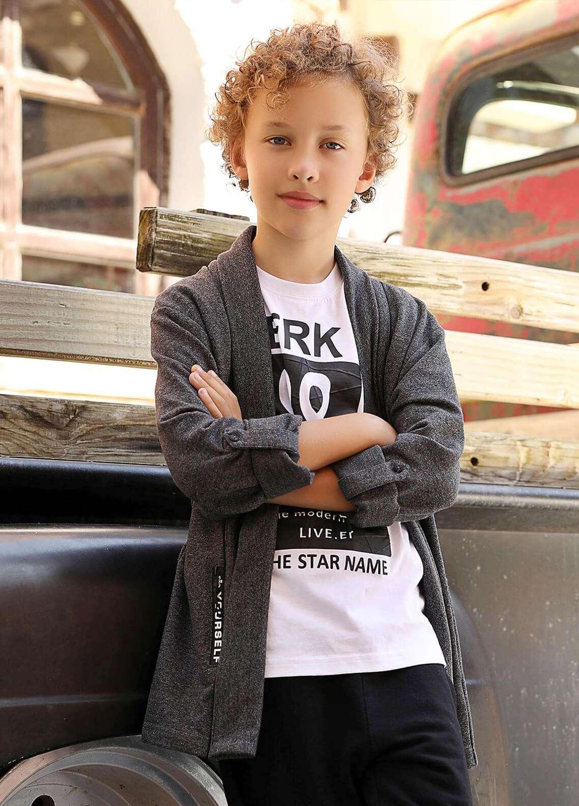Edenrobe Cotton Casual Boys Shirts - Grey 014359