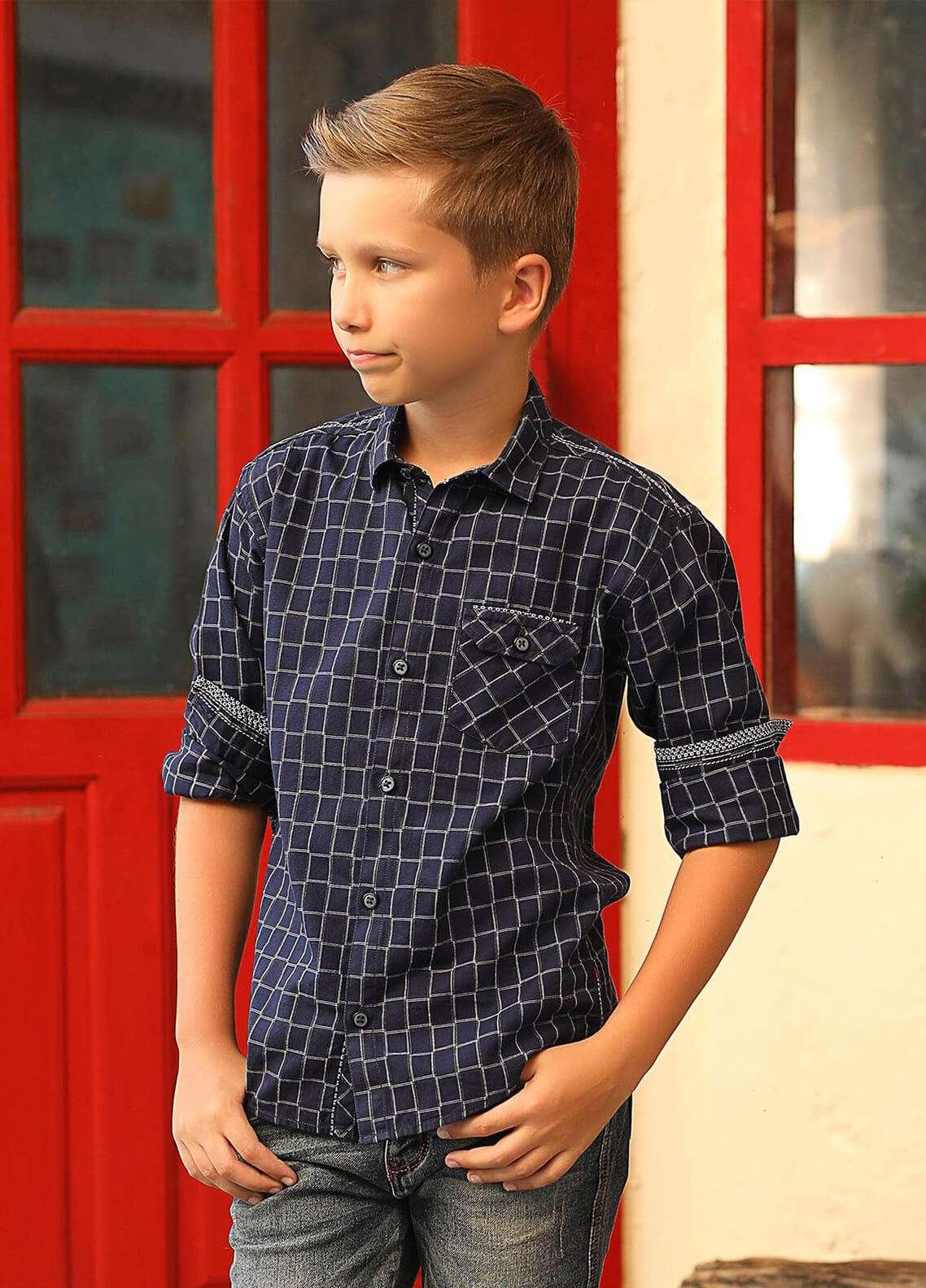 Edenrobe Cotton Casual Boys Shirts -  027199 Navy Blue