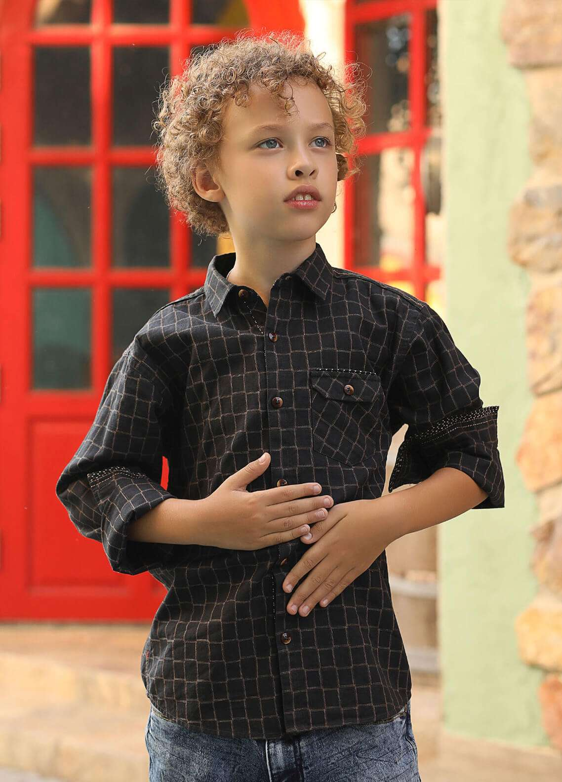 Edenrobe Cotton Casual Shirts for Boys -  027199 Brown