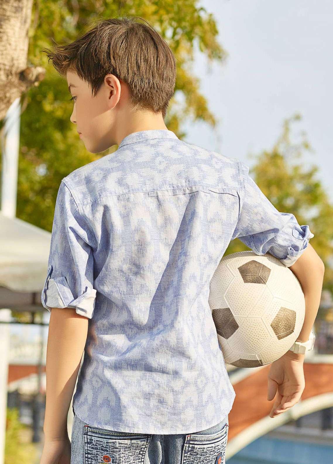 Edenrobe Cotton Casual Boys Shirts - Light Blue EBT3Q19-27218