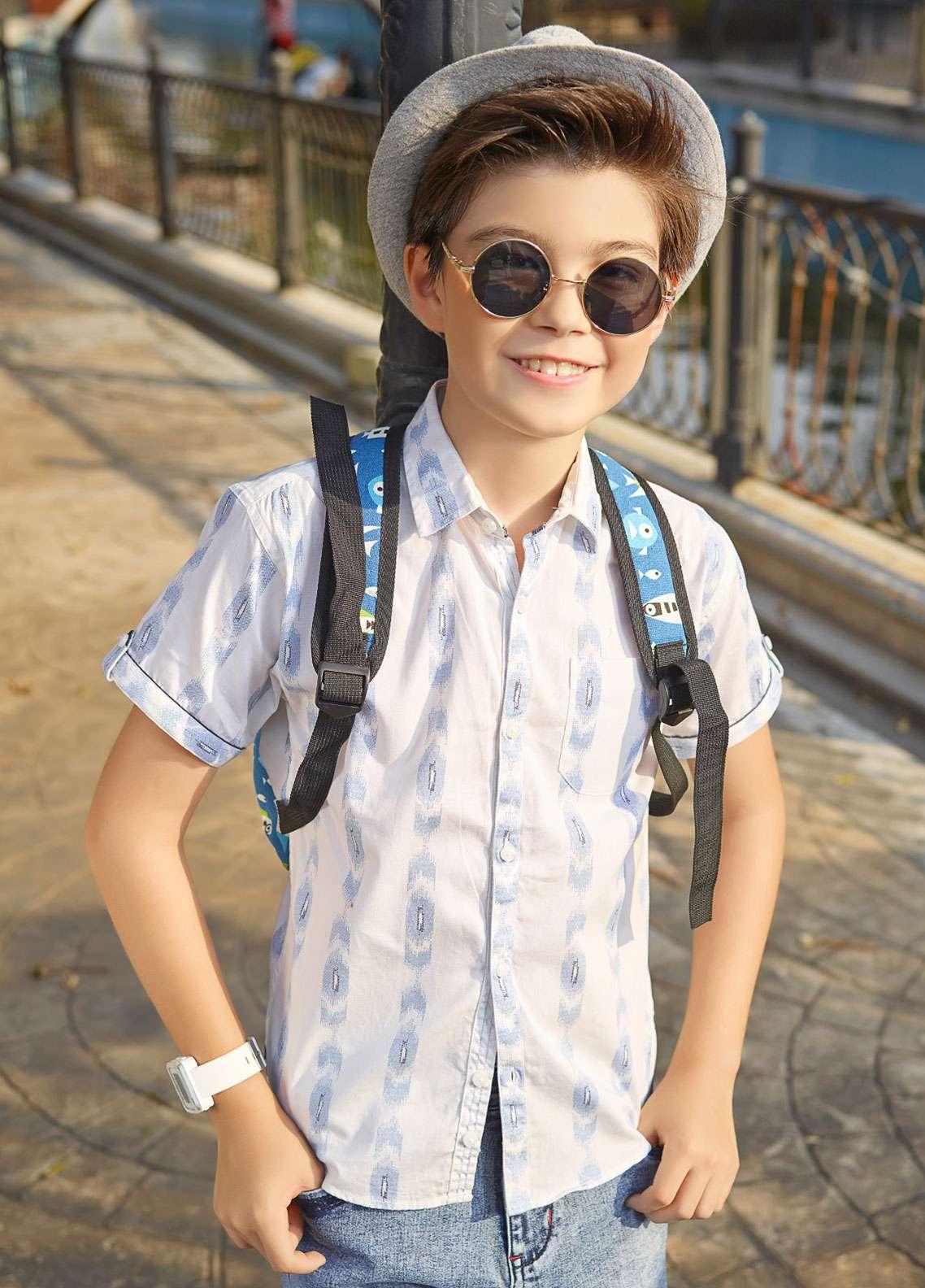 Edenrobe Cotton Casual Shirts for Boys - White EBTHS19-27210