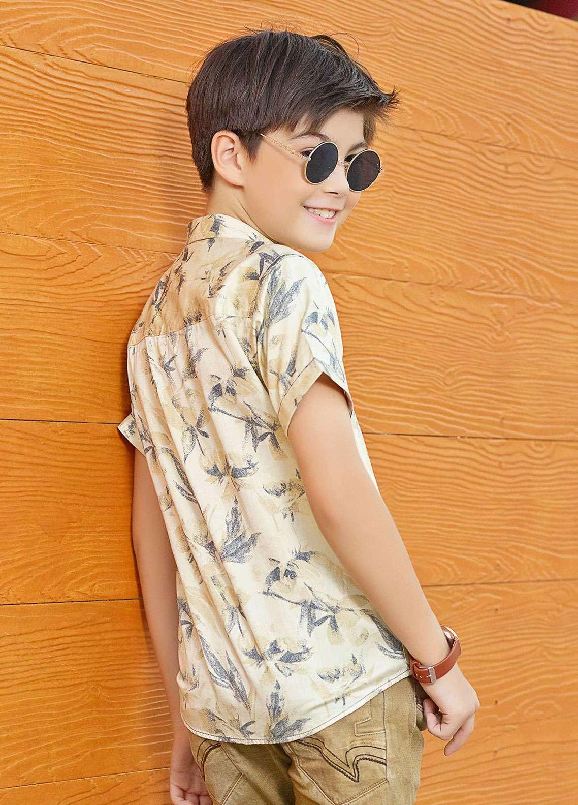 Edenrobe Cotton Casual Boys Shirts - Beige EBTHS19-27222