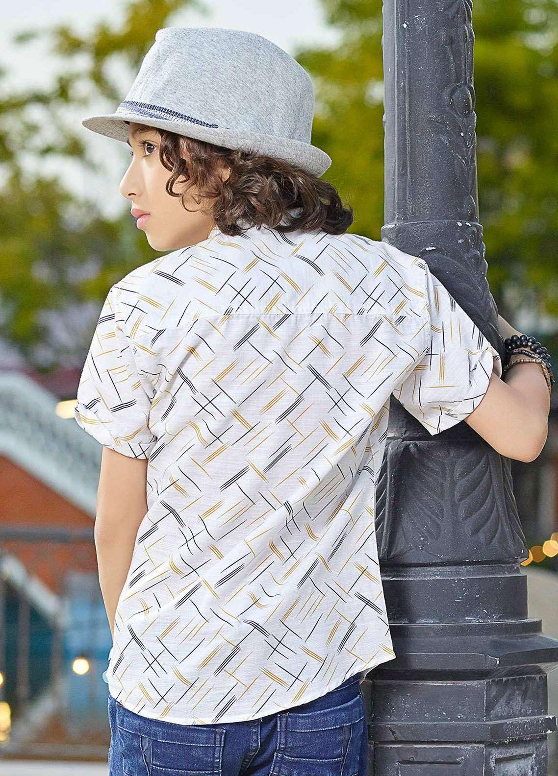Edenrobe Cotton Casual Shirts for Boys - Off White EBTS19-27212