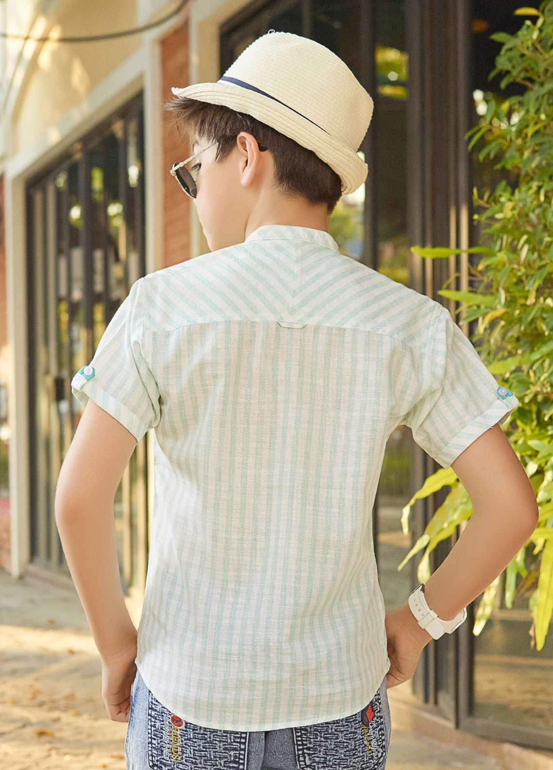 Edenrobe Cotton Casual Boys Shirts - Ice Green EBTS19-27213