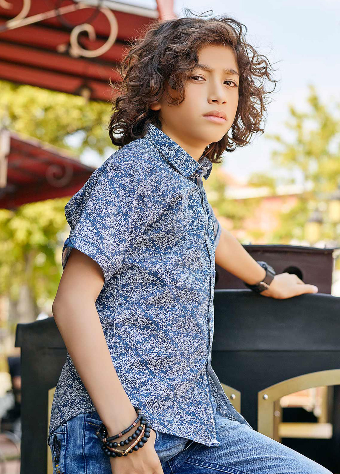 Edenrobe Cotton Casual Shirts for Boys - Navy Blue EBTS19-27214