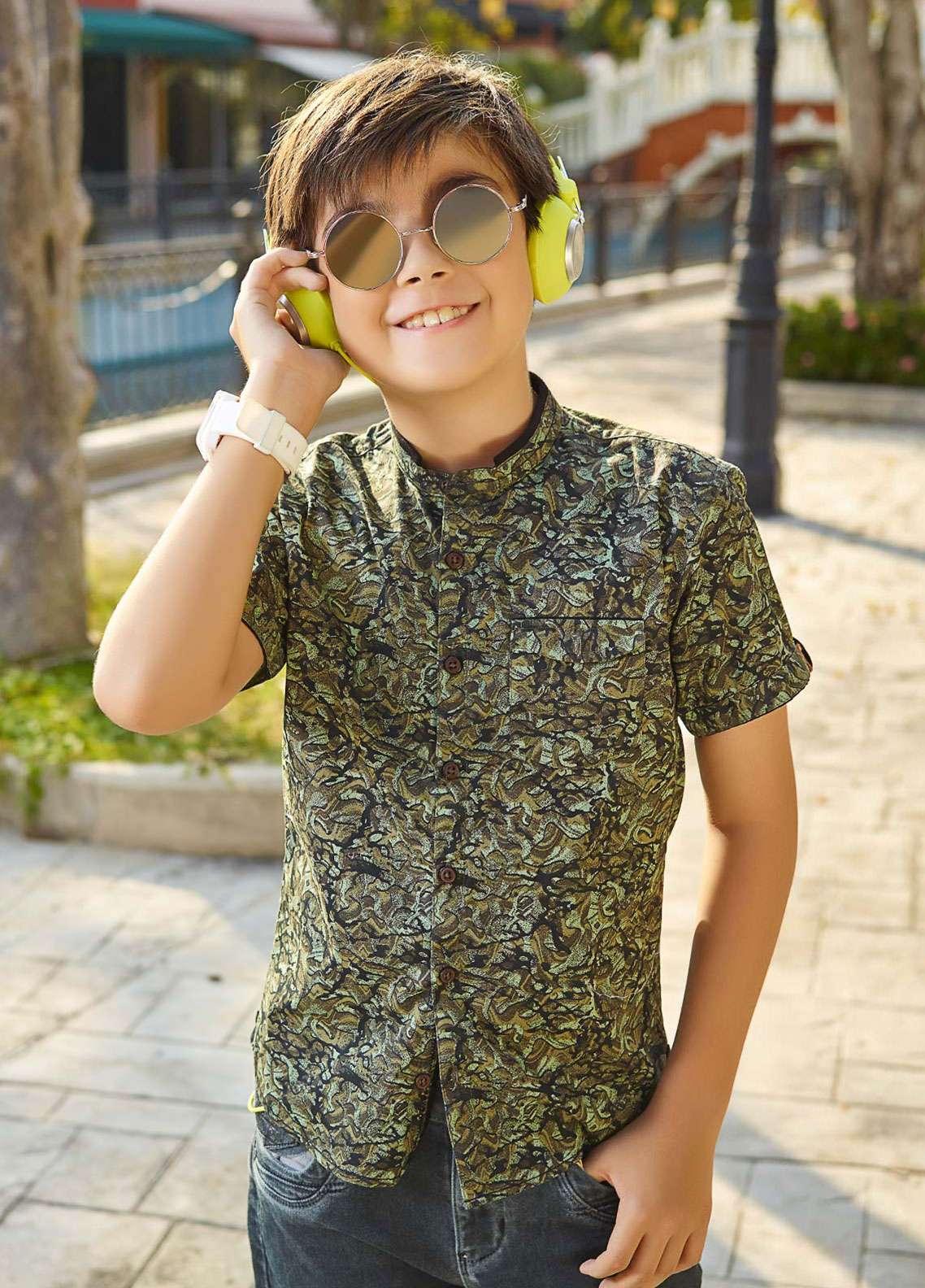 Edenrobe Cotton Casual Boys Shirts - Olive EBTS19-27215