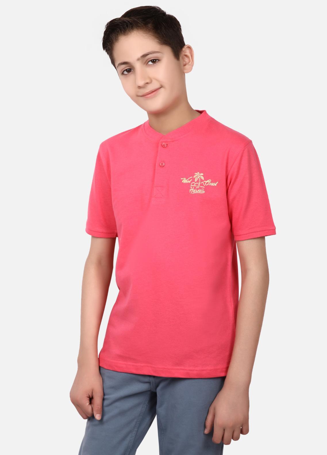 Edenrobe Cotton Half Sleeves Tees for Boys - Red EBTPS19-021