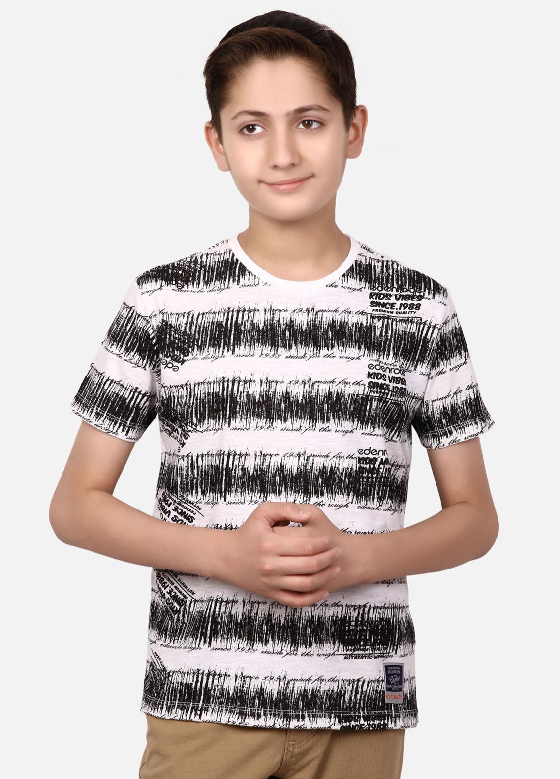 Edenrobe Cotton Half Sleeves Boys Tees - White EBTTS19-010